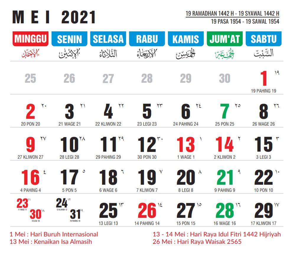 Januari 2021 Kalender Jawa 2021 Lengkap