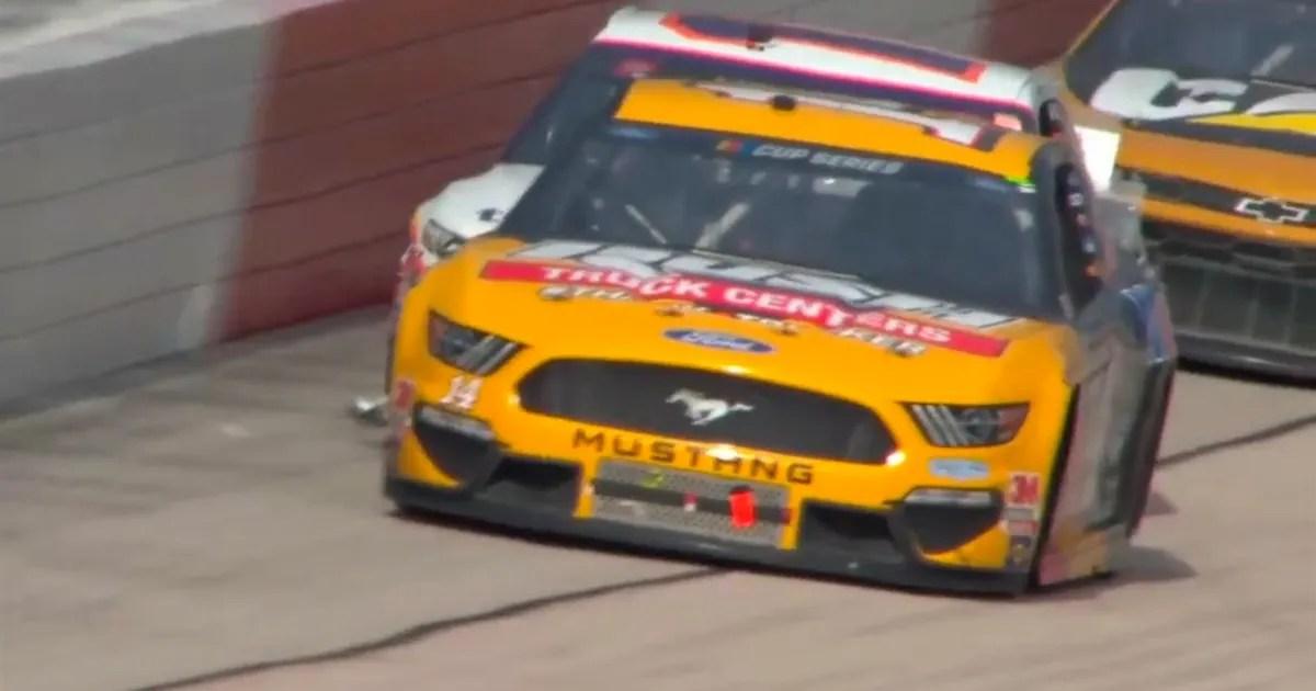 Denny Hamlin finds interesting way to rid car of debris, using Clint Bowyer | NASCAR on FOX (VIDEO) thumbnail