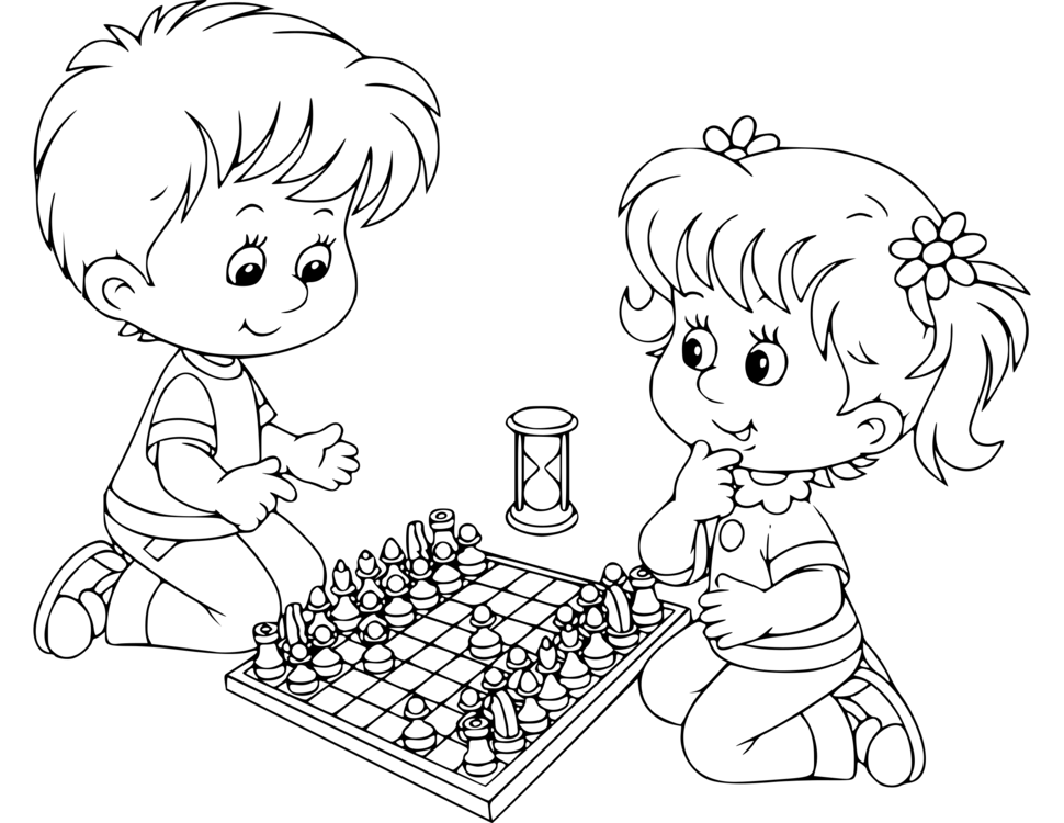 How To Draw Children Playing In The Park Coloring Book For