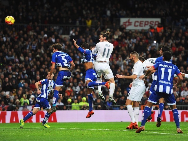 Gareth Bale scores with his head to complete his hat-trick during the game between Real Madrid and Deportivo La Coruna on January 9, 2016
