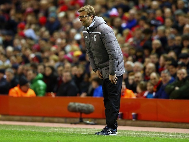 Jurgen Klopp peers on during the Europa League game between Liverpool and Augsburg on February 25, 2016