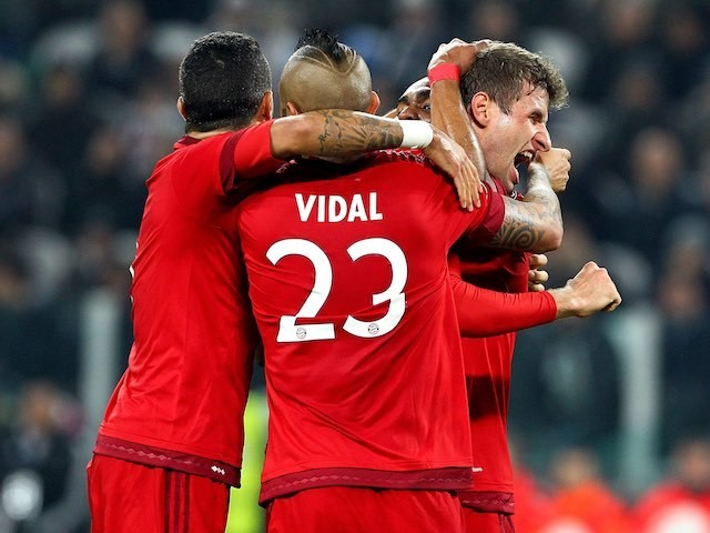 Thomas Muller celebrates during the Champions League game between Juventus and Bayern Munich on February 22, 2016