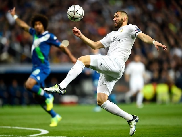 Karim Benzema in action during the Champions League quarter-final between Real Madrid and Wolfsburg on April 12, 2016