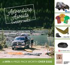 Adventure Awaits Sweepstakes. Win $500 worth of Gear! Includes a Truck or SUV Tent, Adventure T-Shirts, Hammock and Waterproof Bluetooth Speaker! 3/29/20 {US CA}