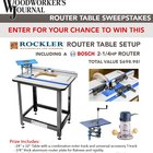Rockler Router Table Sweepstakes. (2/28/16)