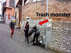 The trash monster scaring people out