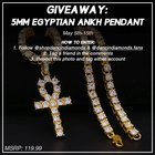"Giveaway, 5MM Ankh Necklace, use the code ""DIAMONDS2018"" for 15% off"