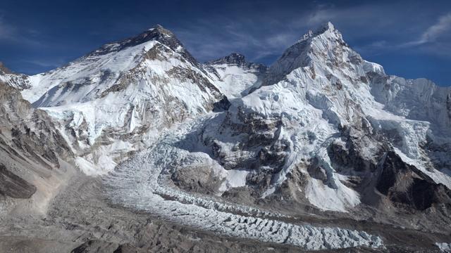 Khumbu Glacier with Mount Everest on the background