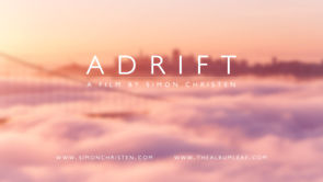 blurred image of fog around Chicago bridge with the Adrift logo in front