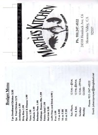 Martha's Kitchen Menu, Menu for Martha's Kitchen, Moreno