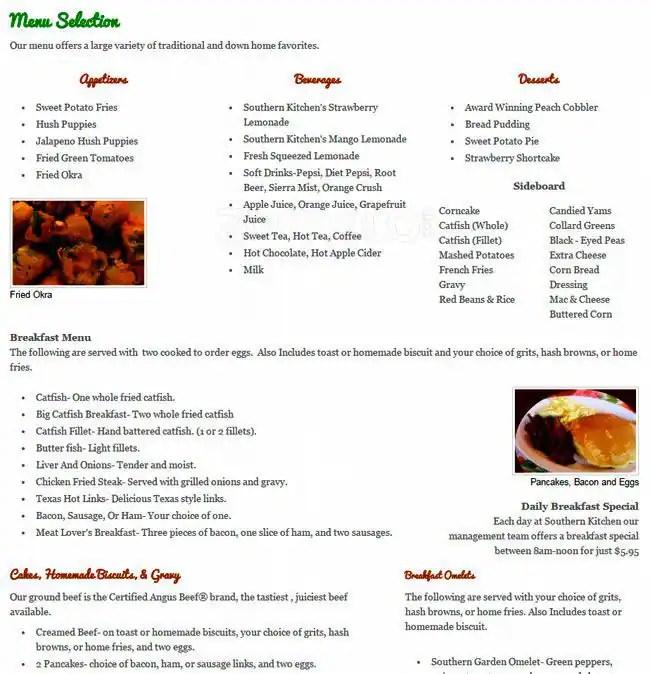 Southern Kitchen Menu Menu for Southern Kitchen Tacoma