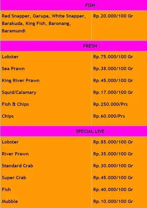 Jimbaran Bay Seafood, Jimbaran Menu