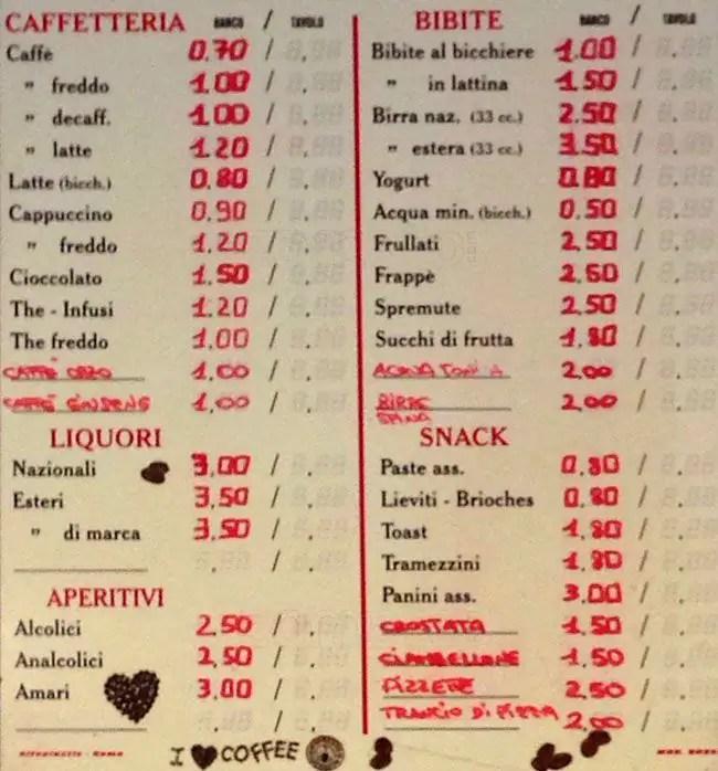 Bar Caff Negresco a Roma Foto del Menu con Prezzi