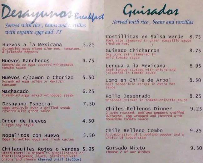 Indio Cocina Mexicana Menu Menu for Indio Cocina Mexicana