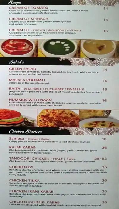 indian summer menu menu