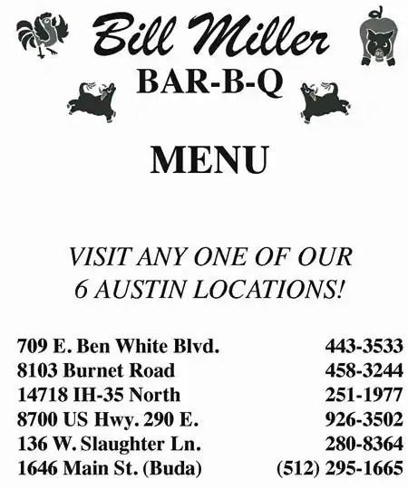 Menu at Bill Miller Bar-b-q, Austin, N Interstate Hwy 35