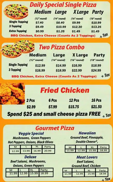 Chicken Wings Dinner Menu