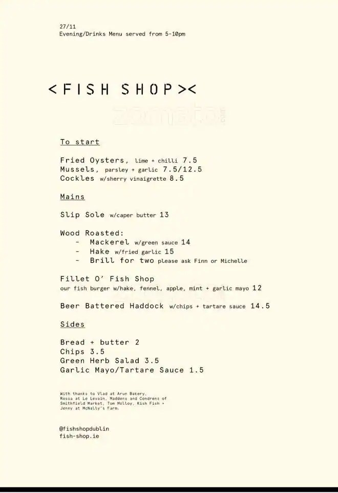 Fish Shop Smithfield Dublin