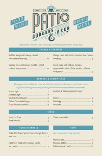 Patio Burgers & Beer Menu, Menu for Patio Burgers & Beer ...