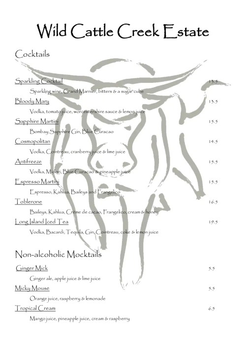 small resolution of wild cattle creek estate menu