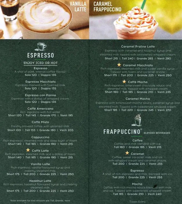 Image Result For Starbucks Coffee Menu India
