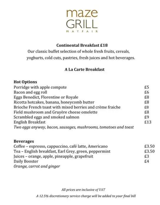 Maze Grill - Marriott London Grosvenor Square Menu - Zomato UK