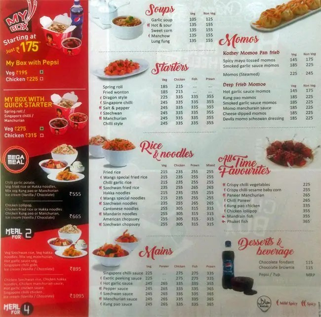 Wangs Kitchen Menu, Menu for Wangs Kitchen, Nungambakkam