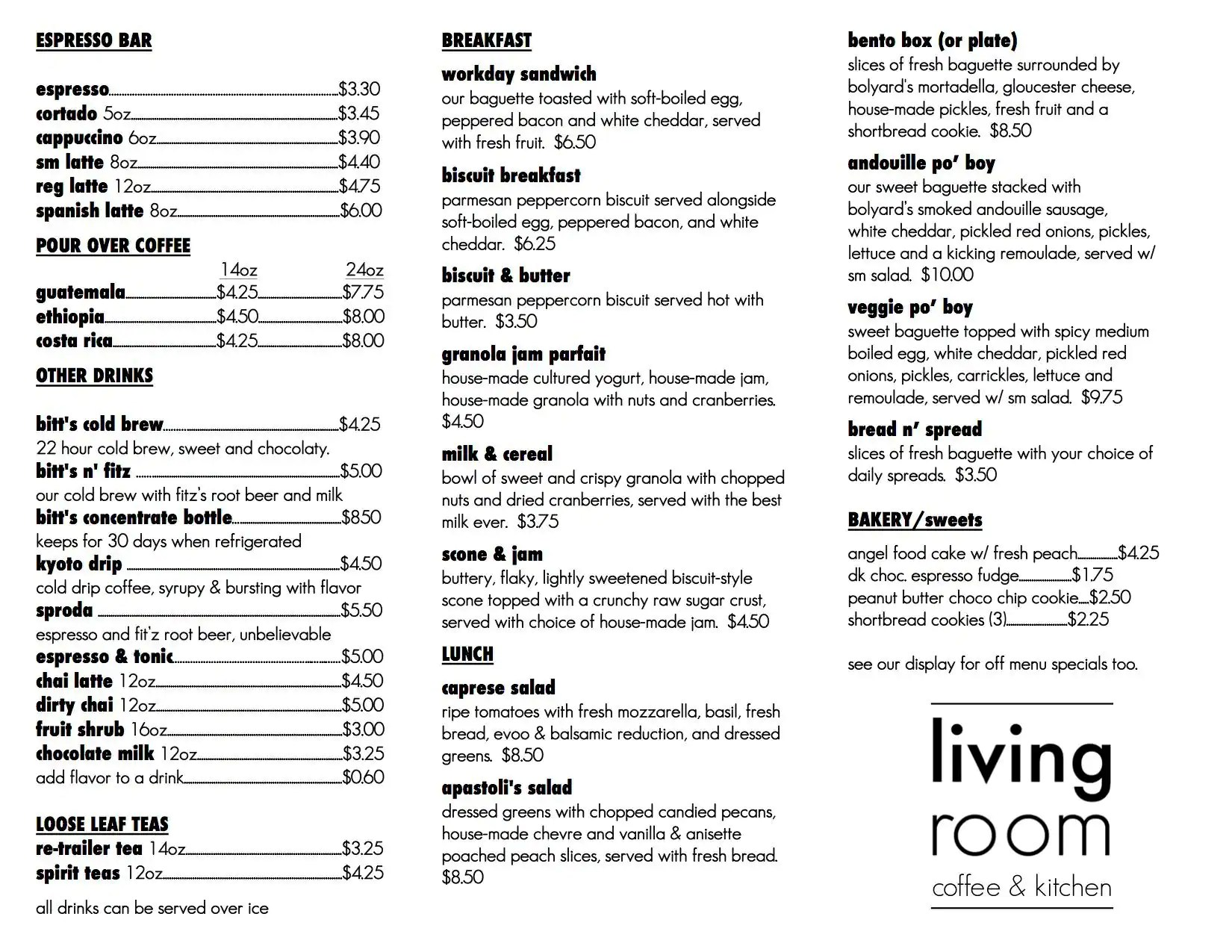 Living Room Menu Menu for Living Room Maplewood St