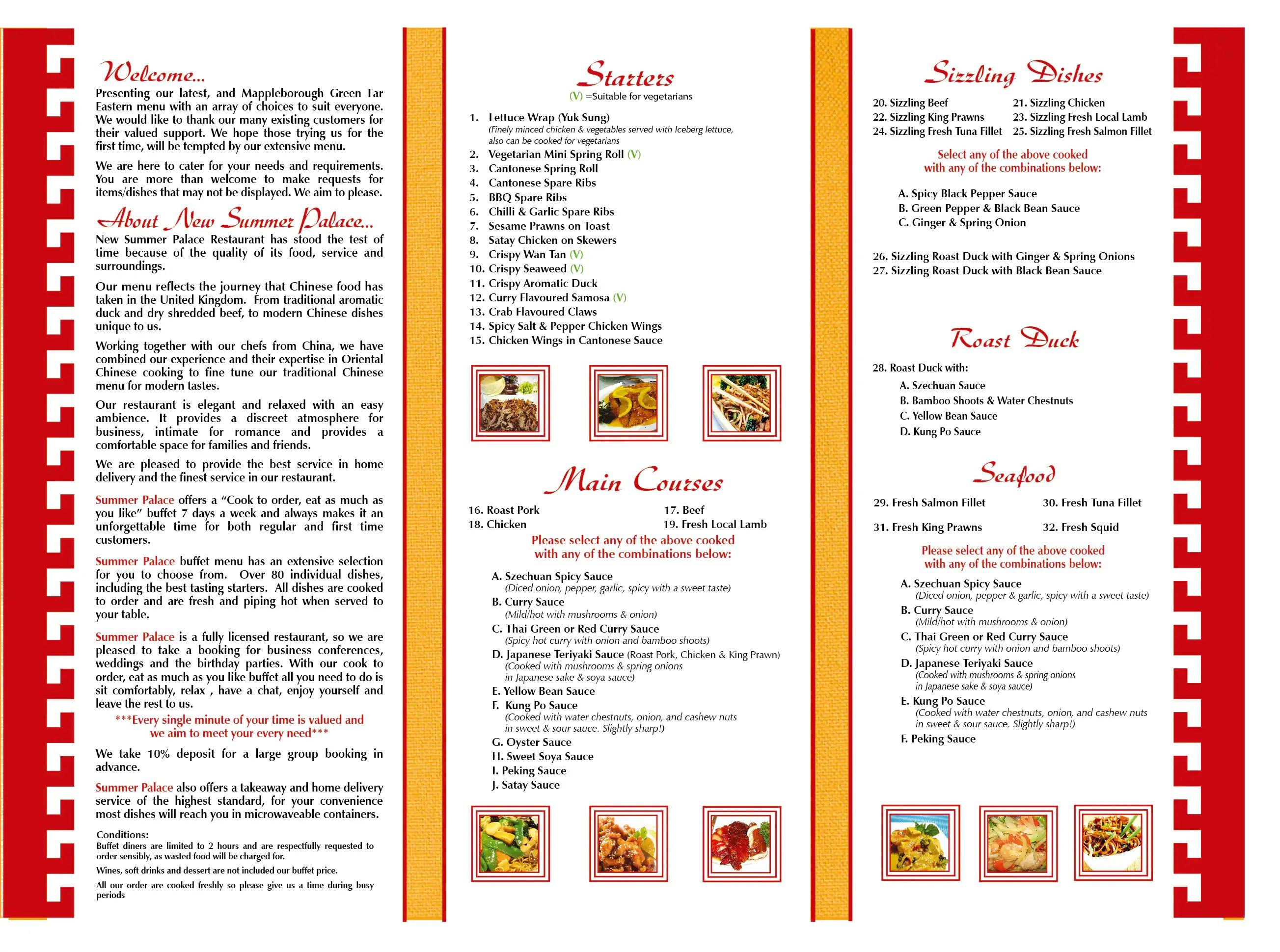 new summer palace menu