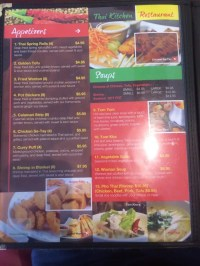 Menu at Thai Kitchen restaurant, Pocatello