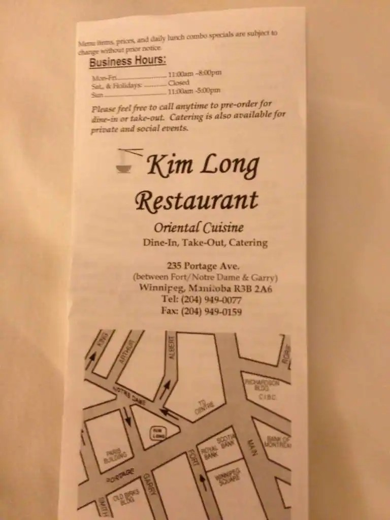 Kim Long Restaurant a Winnipeg Foto del Menu con Prezzi  UrbanspoonZomato