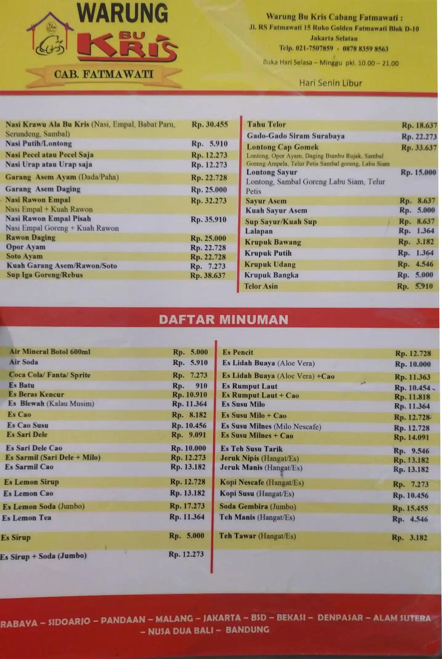 Bu Kris Fatmawati : fatmawati, Warung, Menu,, Kris,, Fatmawati,, Jakarta