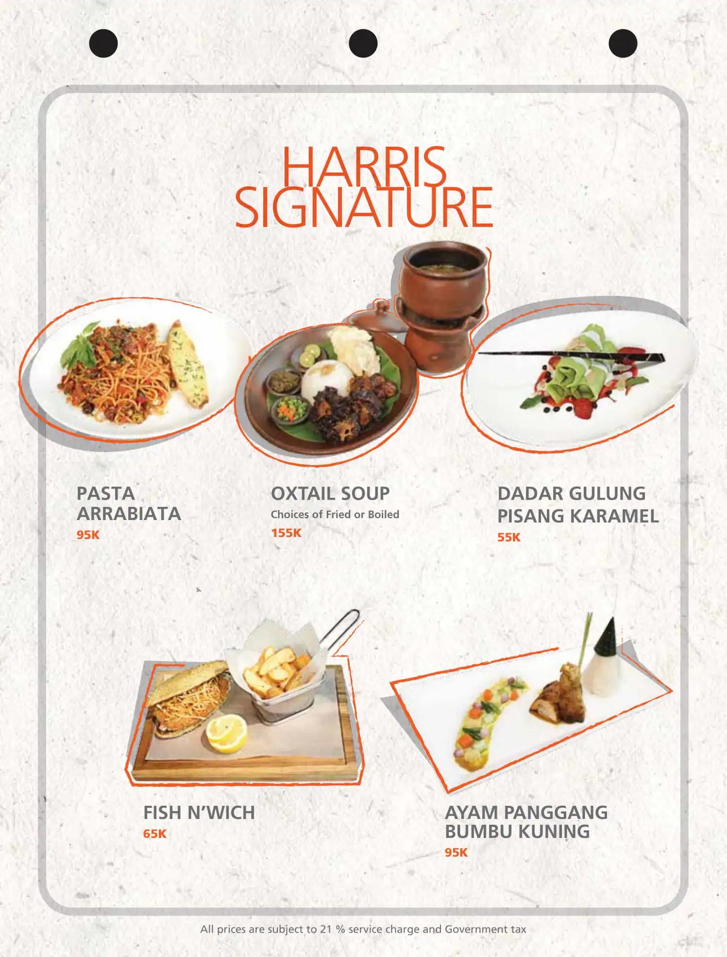 Harris Cafe Harris Hotel Residences Sunset Road Menu