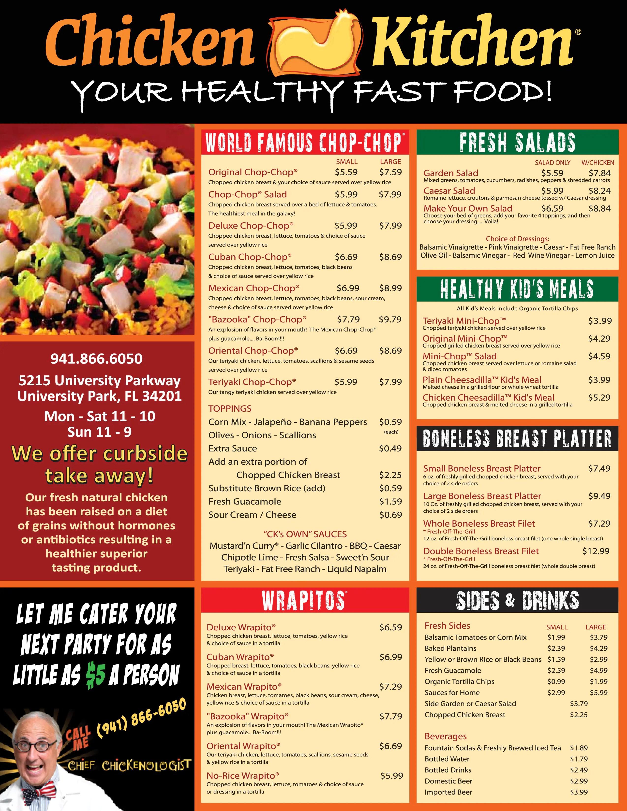 Chicken Kitchen Menu Menu for Chicken Kitchen University Park Tampa Bay  UrbanspoonZomato