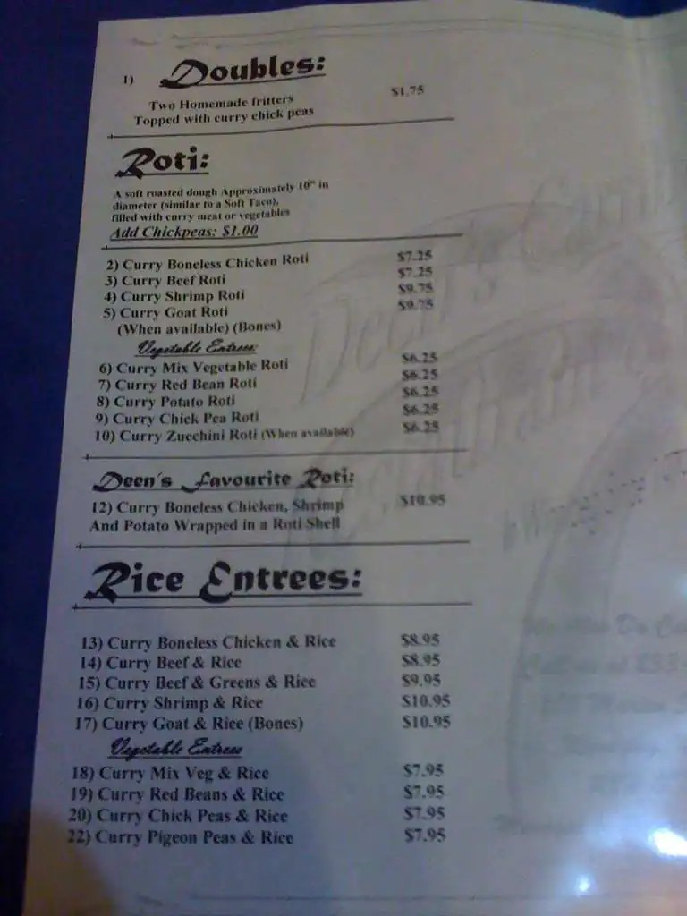 Deen's Caribbean Restaurant & Patio Menu