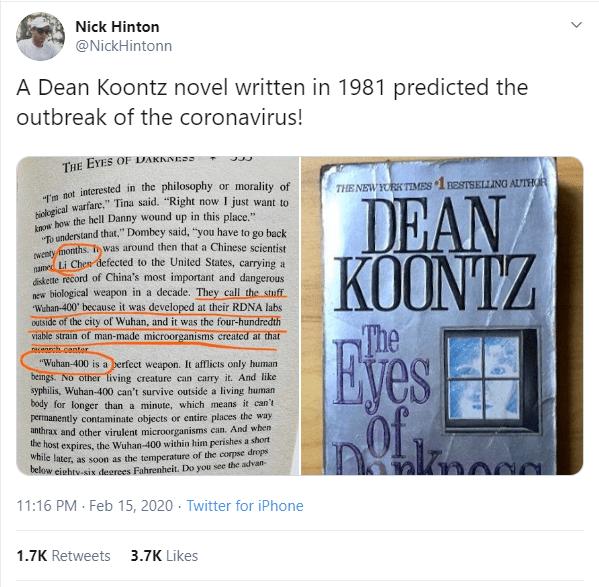 Did Dean Koonz Predict The Coronavirus in a 1981 Novel?