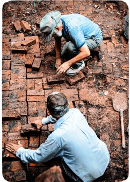 Laying Bricks - George and Phil