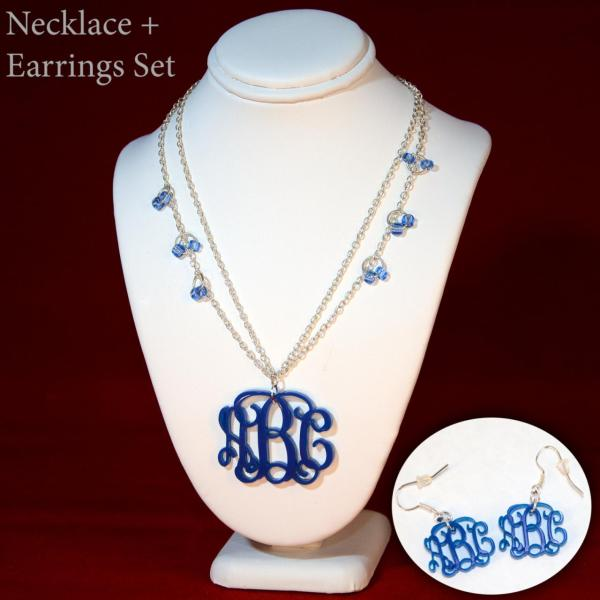 True Blue 3 Initials Monogram Necklace And Earrings Set