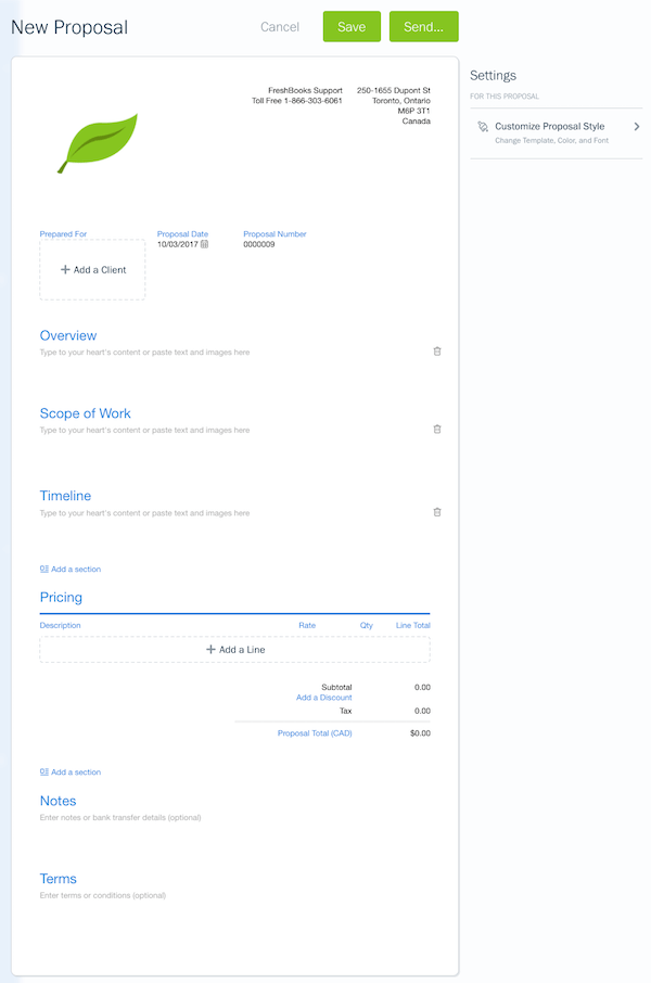New Proposal screen in Freshbooks