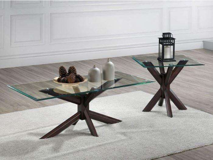 bella 2pce glass coffee lamp table set dark hardwood