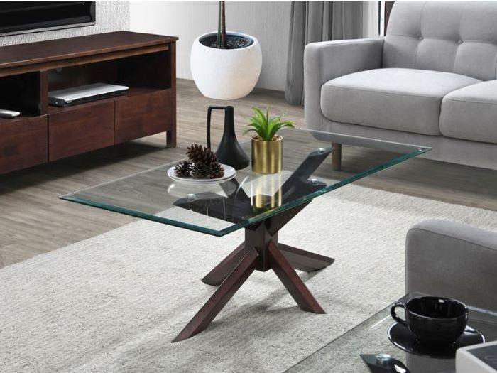 bella glass coffee table dark hardwood frame