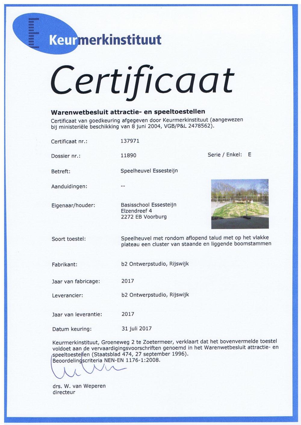 certificaat speelheuvel