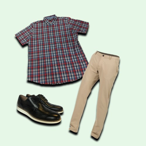 men's khaki pants, men's black dress shoes, men's flannel shirt short-sleeved