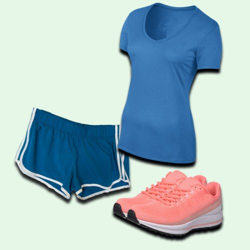 women's blue athletic shorts, women's coral running shoe, women's blue athletic shirt