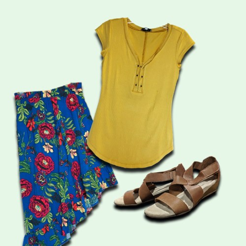 women's yellow shirt, women's floral skirt, women's brown strap sandal