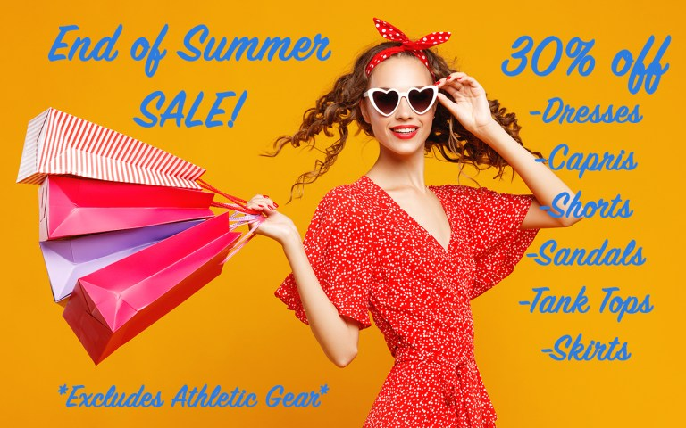 Woman shopping, sale, good deals, summer items, on sale