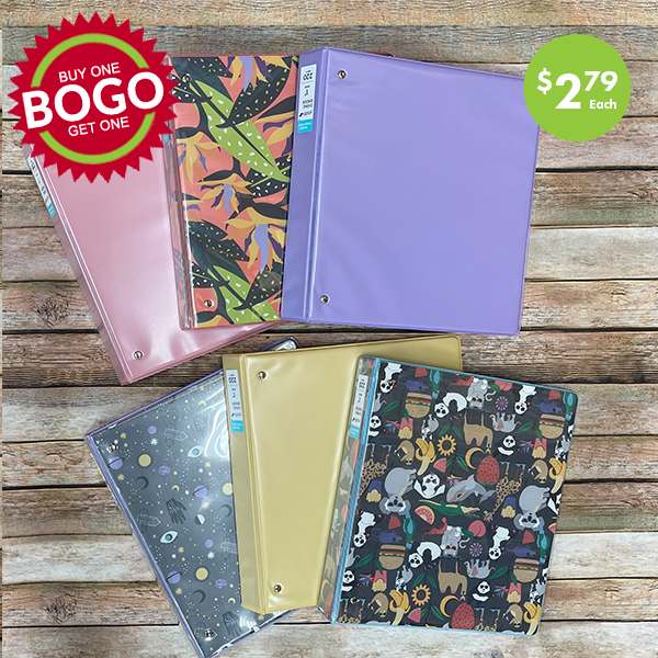 3 ring binders BOGO sale
