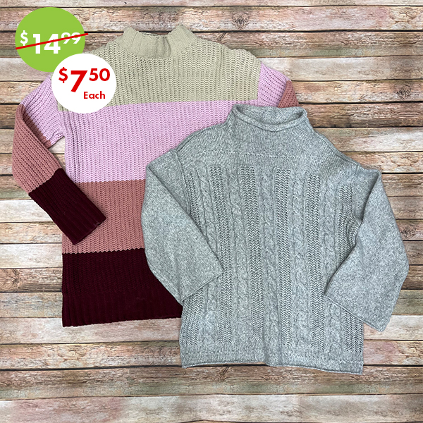 womens sweater and fleece lined apparel 50% off sale
