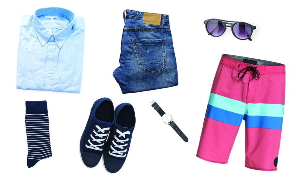 Men's clothing, pants, swim shorts, sunglasses, shoes, button sups, watches, belts, jeans