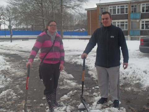 Shauna Evans & Jason Deakin helping elderly residents clear access to their properties.
